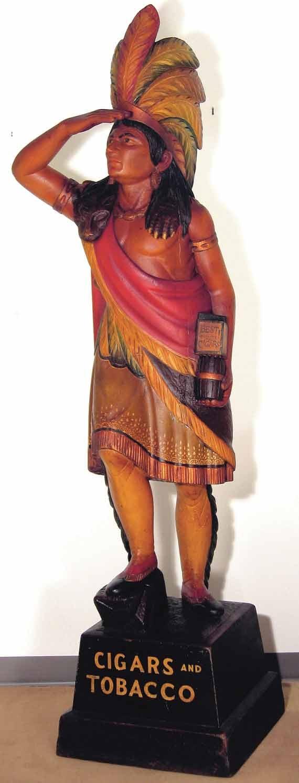 Antique carved folk art cigar store Indian.