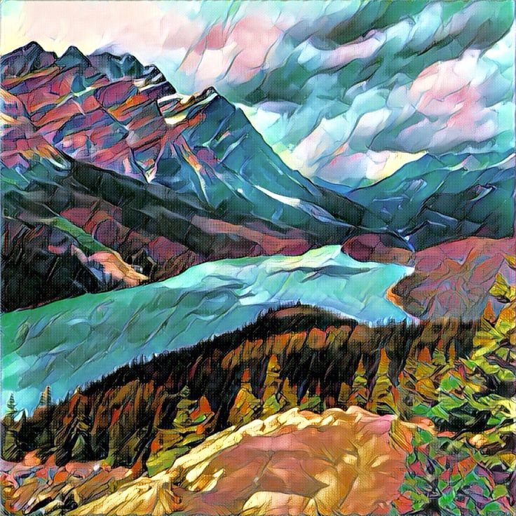 Peyto Lake, Banff. This #painting was made from a simple photo with a #Prisma app. #Art #Illustration #Banff #Lake #Mountains #Canada  #Drawing