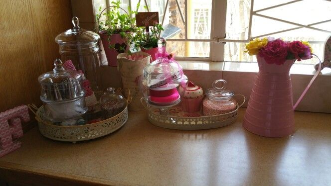 Baking corner. Paris tray, jars and a pretty pink jug with roses... Lovelovelove  pink