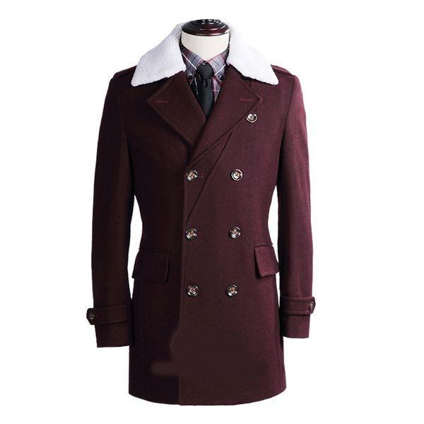 Extravagant Burgundy #Mens Fur #Collar Wool #Pea #Coat #stylish #fashionable #peacoatmonkey Get discount price http://www.peacoatmonkey.com/peacoatmonkey-wool-overcoat-collection/peacoats-instyle8898934899/essential-fashion/pea-coats-for-men-collection-c-998349866.html