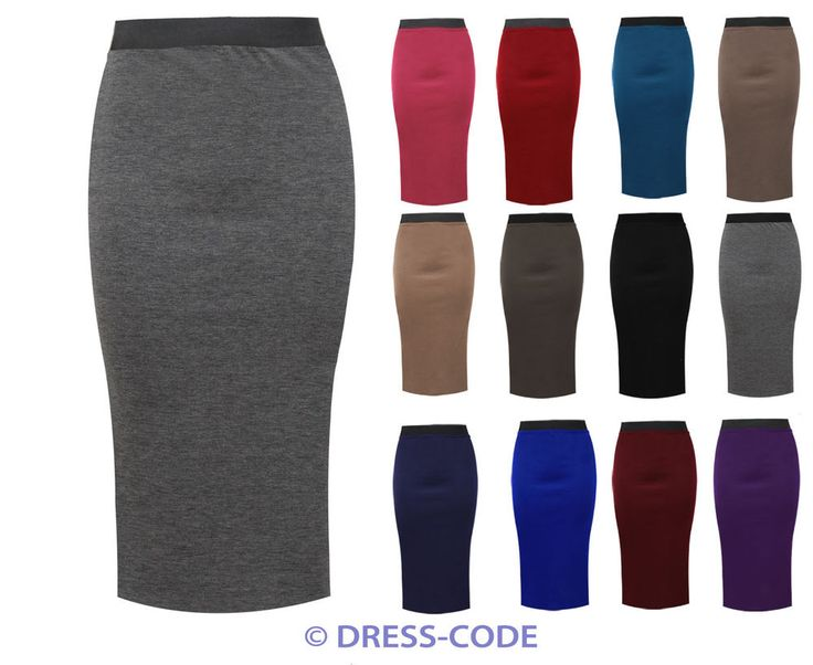 LADIES PLAIN OFFICE WOMENS STRETCH BODYCON MIDI PENCIL SKIRT PLUS SIZE 8-22 #DRESSCODE #Pencil #Casual