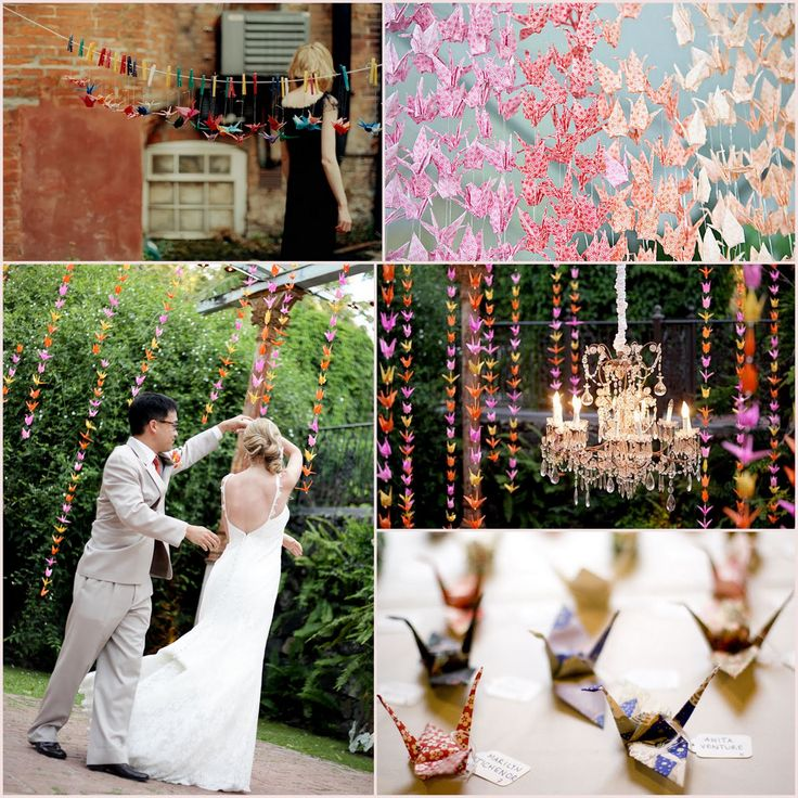 According to Japanese lore, a bride who folds 1,000 paper cranes before her wedding will have a prosperous marriage.
