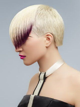 Short Punk Haircut With Colored Long Bangs. Love the look of the dip dyed side bangs!