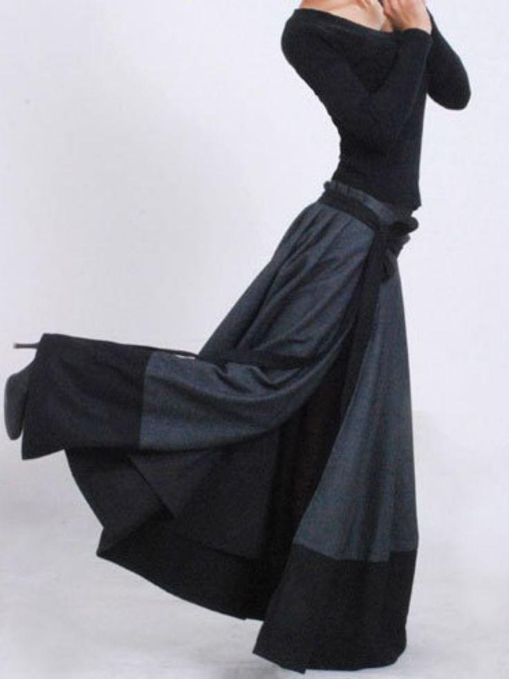 Wrap skirt, patchwork skirt, wool skirt, maxi skirt, winter skirt, modern clothing, pleated skirt, unique skirt, gift for mom #maxiskirt #maxi #ad