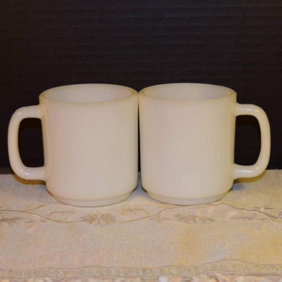 Glasbake White Milk Glass Coffee Cups by ShellysSelectSalvage