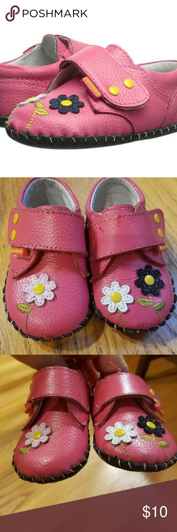Baby girls pediped shoes size 6-12 months Baby girls Pediped slip on shoes with velcro closure. In good shape, some minor scuffing on toes and heel. Size 6 to 12 months. All of my items come from a smoke-free and pet-free home. pediped Shoes Baby & Walker