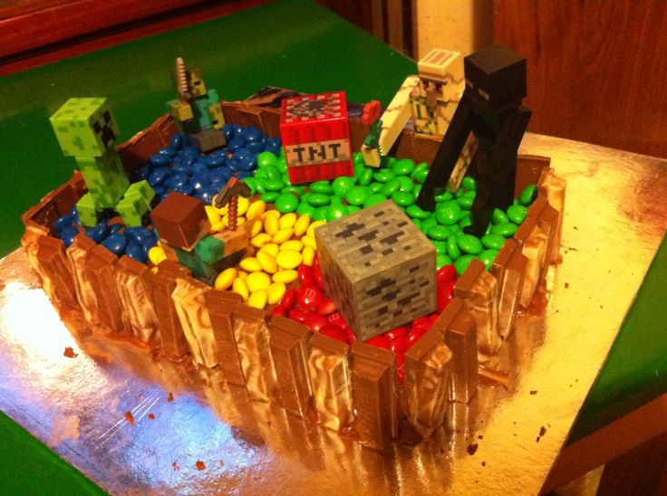 Minecraft themed cake made for my sons 6th birthday. He helped make the cake and then helped decorate it.  Note: the decorations are toys.  My skill is not quite there yet. But will give the fondant a go at a later date.
