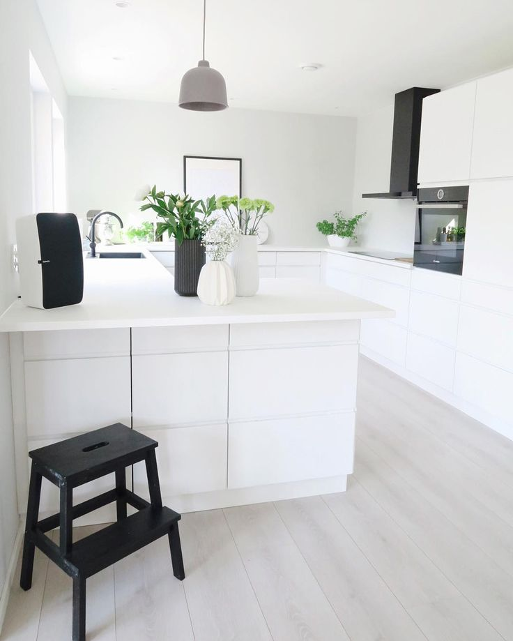 Black on white, pale pinewood and fresh greeneries, thoughtful minimalism