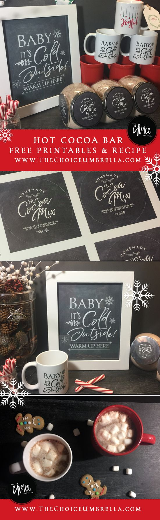 Free download Friday – Hot Beverage Bar with Printables!  Baby it's Cold Outside: 8x10 print, 2 inch circular labels and 3 inch circular labels - create your own hot beverage bar!
