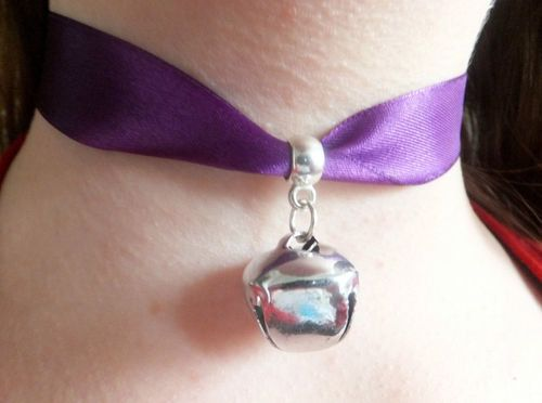 Cosplay Purple Ribbon & Silver Bell Cat Collar Choker Necklace