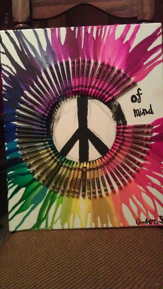 Crayola Art!  Tools Needed: Crayola Crayons, Canvas, Blow Dryer & Paint.