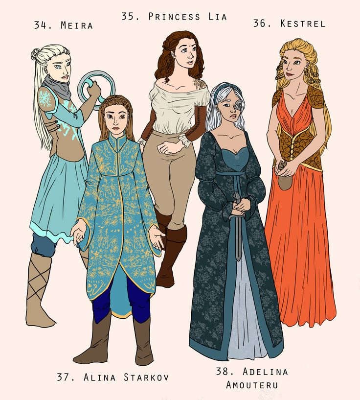 Meira - Snow like Ashes, Alina Starkov -Shadow and Bone, Princess LIa -Heart of Betrayal, Adelina - the Young Elites