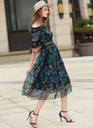 Poliester Kwiatowy 1039740/1039740 Rękawy Do Połowy Łydki Elegancki Sukienki (1039740) @ floryday.com