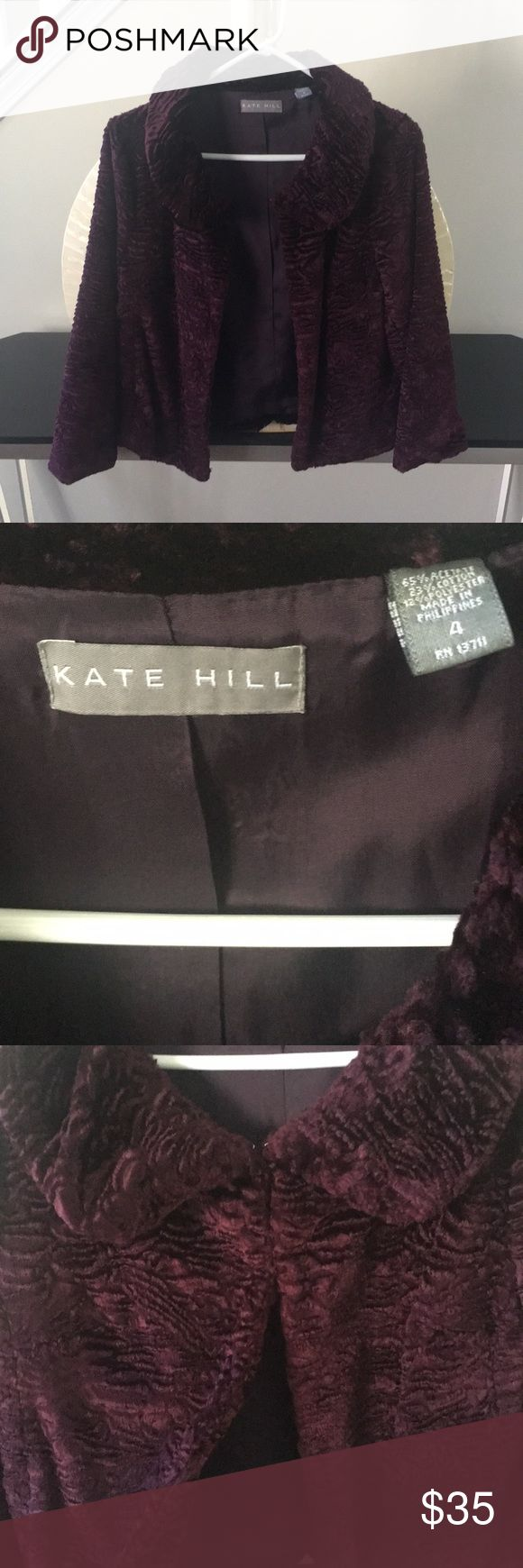 Kate Hill purple faux fur coat In excellent condition with no flaws! Super soft dark purple faux fur coat with eyelet clasps. Thanks for looking and make an offer.💕 Kate Hill Jackets & Coats