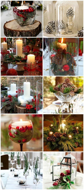 Festive Christmas Winter Wedding Centerpiece Ideas