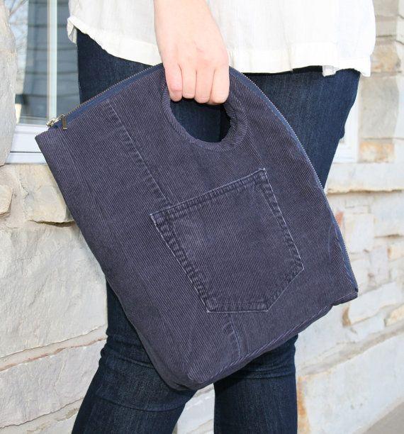Repurposed Corduroy Zip Bag - Denim Blue