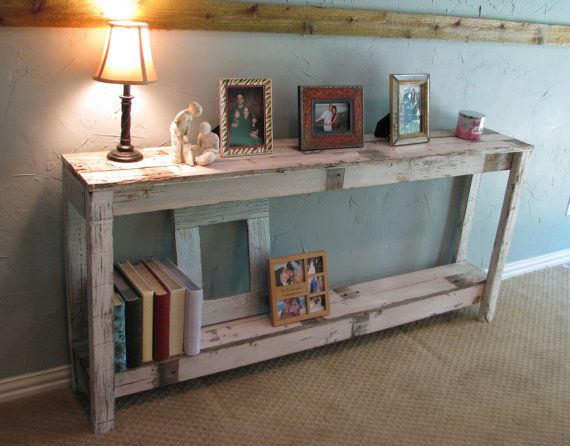 White Rustic Sofa Table / Entry Table by RusticExquisiteDsgn on Etsy, $249.00
