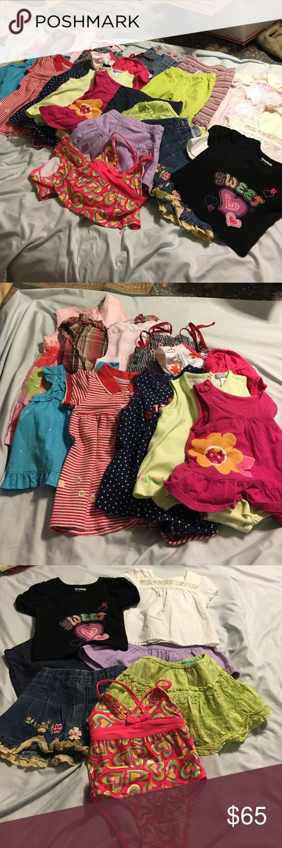 Huge Bundle 22 items. Girls 12 month. 1st impression cream pjs. Lili Paris floral coverall. Carters jeans. Carters green polka dot leggings. TCP striped leggings. Joe boxer bathing suit. Osh Kosh blouse. Garanimals tee. TCP green skirt. Koala kids purple skirt. Denim skirt. Denim shorts. Faded glory pink top. Carters green gingham jumper. Carter USA jumper. Al & Ray blue top. Fisher price floral dress. Blue gingham sundress. Florence Eisman sundress. Exhilaration plaid dress. Carters striped…