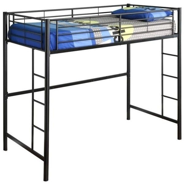 Walker Edison Sunset Metal Twin Loft Bunk Bed ($213) ❤ liked on Polyvore featuring home, children's room, children's furniture and black