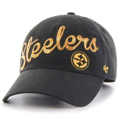 Pittsburgh Steelers '47 Brand Women's Sparkle Script Clean Up Adjustable Hat - Black