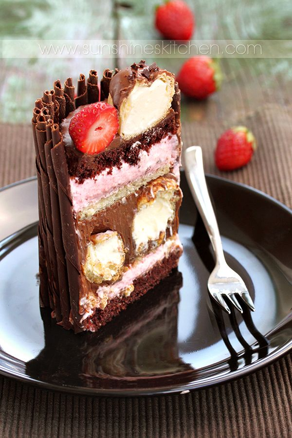 chocolate, strawberry mousse and eclairs cake