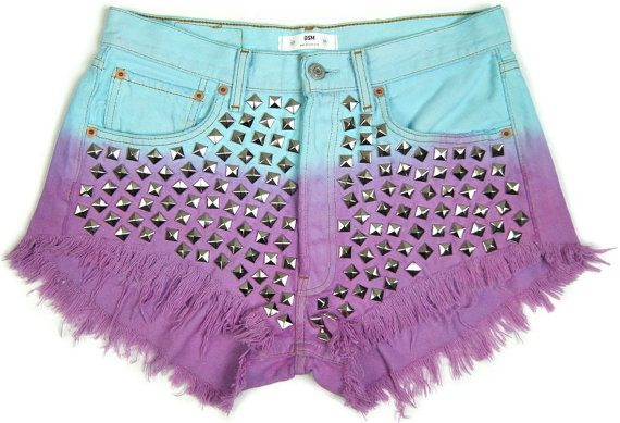 OMBRE SUMMER High waisted STUDDED Levis denim shorts by DSMjeans