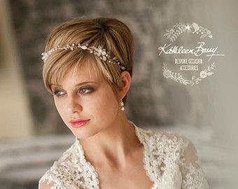 Corona de la tiara de diadema de hojas de Perla - plata, oro, color de rosa de oro opciones flor tiara - diadema - corona nupcial ESTILO floral de la boda: Tracey
