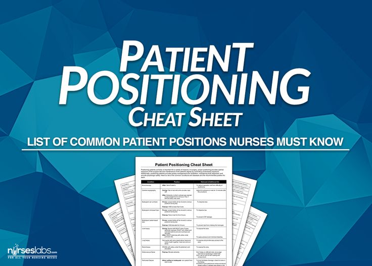 Here's a list of the common patient positioning for different conditions, diseases, and nursing procedures. Free to download and print!