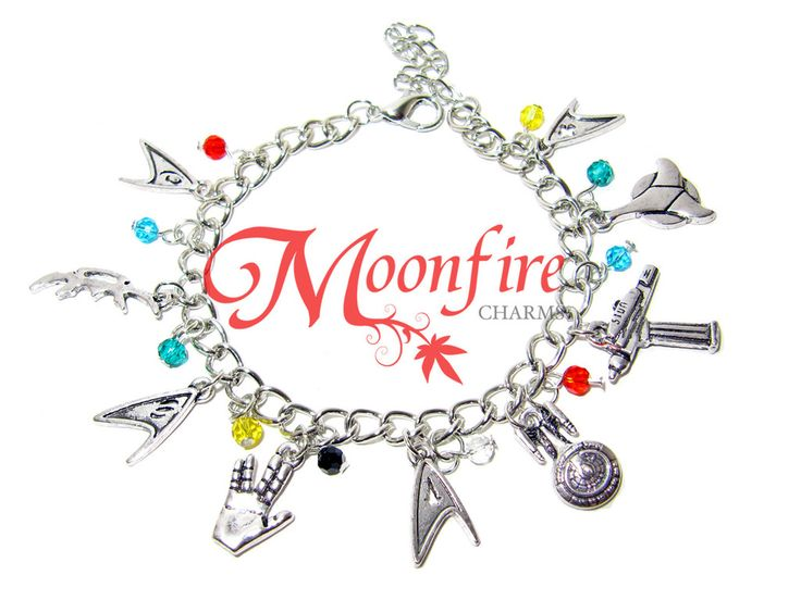 This bracelet is a tribute to the Star Trek fandom! Great for any ST fan! The silver-plated bracelet measures 7 inches. It comes with a lobster hook and clasp.