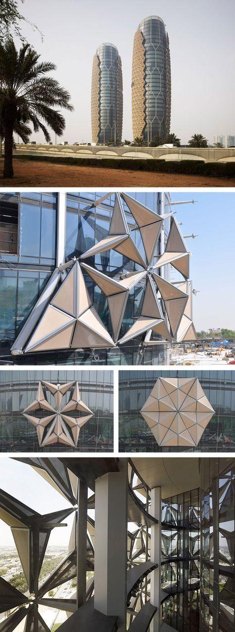 Al Bahar Towers, Abu Dhabi. Aedas, Arup (2012). http://inhabitat.com/exclusive-photos-worlds-largest-computerized-facade-cools-aedas-al-bahr-towers/ http://www.archdaily.com/270592/al-bahar-towers-responsive-facade-aedas/