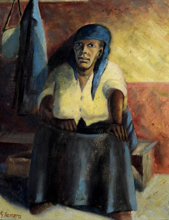 By Gerard Sekoto (South African, 1913-1993), Portrait of the artist's mother, oil on canvasboard.