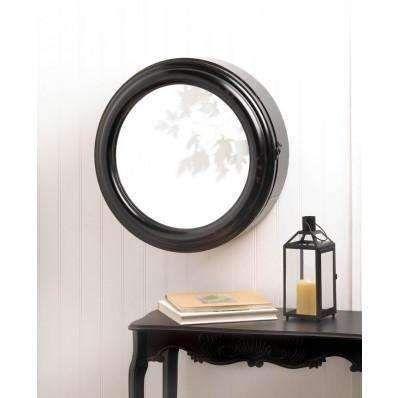 Porthole Black Metal Mirror Cabinet