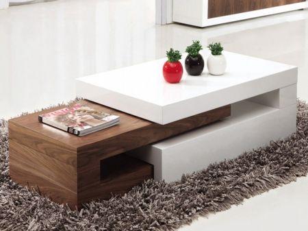 Lexy Extending White Gloss & Walnut Coffee Table