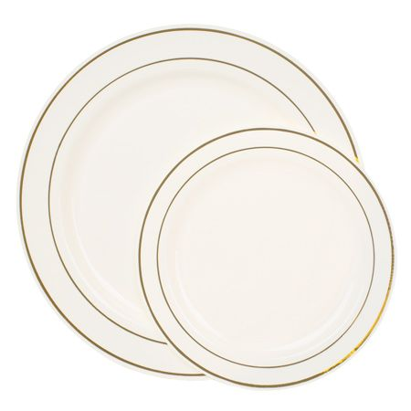 Smartyhadaparty.com   Gold Rimmed Ivory Plate Value Set  $99. bucks for a value pack  120 f the smaller AND 120 of the dinner size.  Can't beat! ( I think)