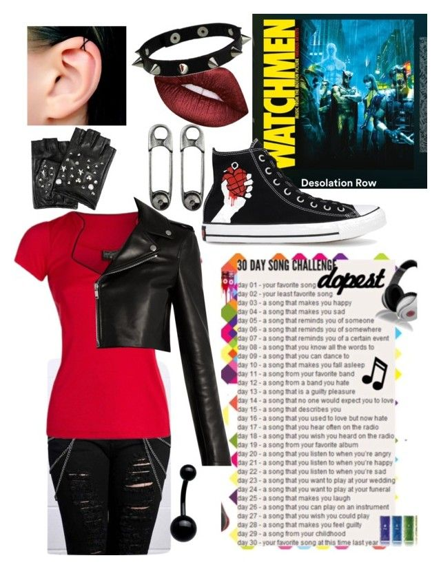"""Day 3- A song that makes you happy- Desolation Row: My Chemical Romance"" by theabyssofdepression ❤ liked on Polyvore featuring Disturbia, Yves Saint Laurent, Karl Lagerfeld, Converse and Lime Crime"