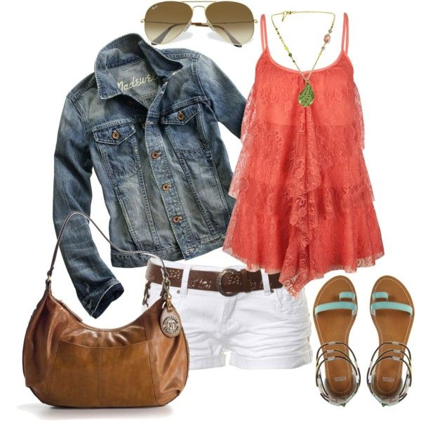 Love this top!Fashion, White Shorts, Lace Tops, Summer Looks, Summer Outfit, Style, Jeans Jackets, Clothing, Spring Summer