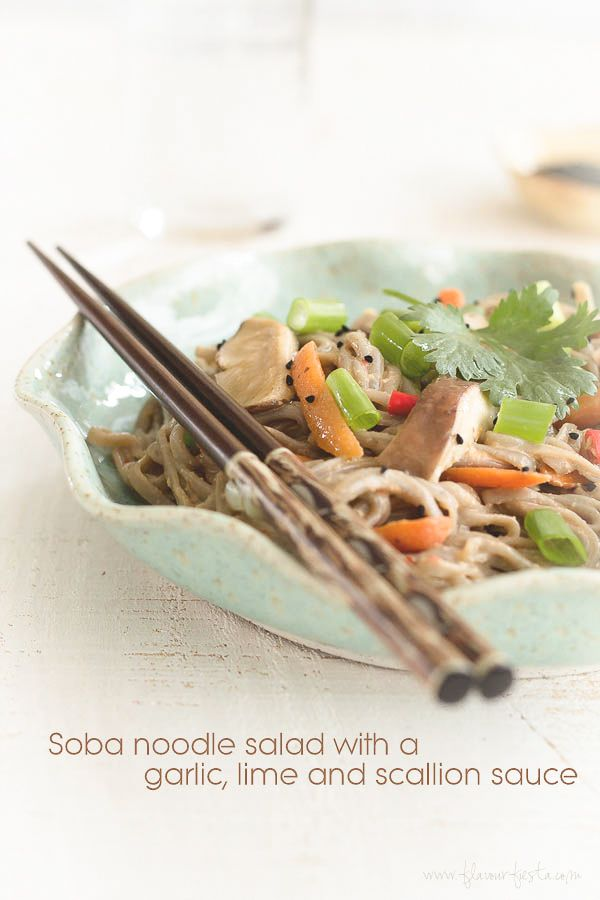 Soba noodle salad with a lime, garlic and scallion sauce: Recipe, Parties, Garlic Limes, Soba Noodles, Noodles Salad, Noodle Salads, Scallion Sauces, Food Drinks, Limes Soba