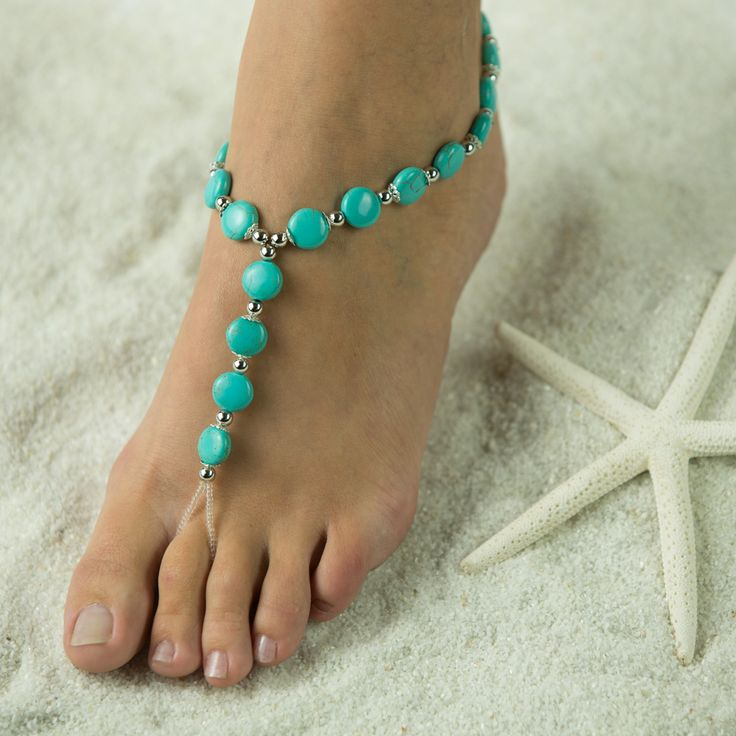 Timeless Turquoise, Barefoot Sandals, Foot Jewelry, Wedding Sandals. FREE SHIPPING $47.00 www,beautifulbarefootsandals.com