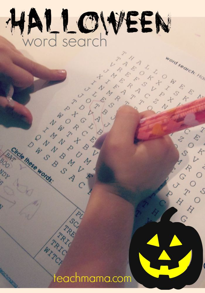 halloween word search  teachmama.com --> fun and easy way to get ready for this spooky month!
