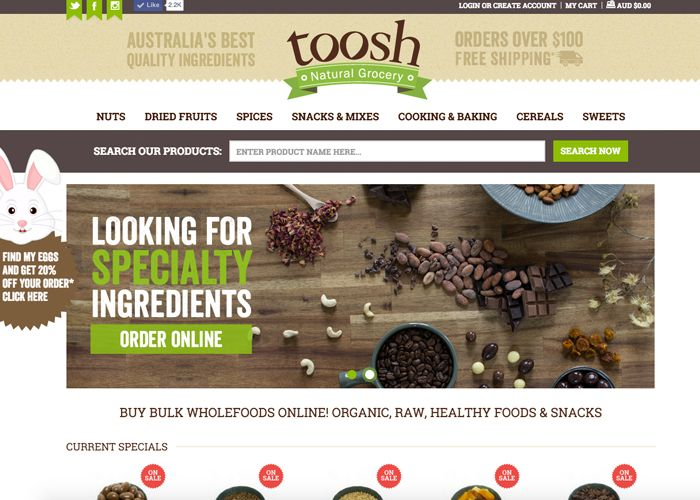 Toosh Natural Grocery is a premium online grocery based in Australia. Offering Nuts, Dried fruits, Trail Mixes, Spices and other specialty ingredients...
