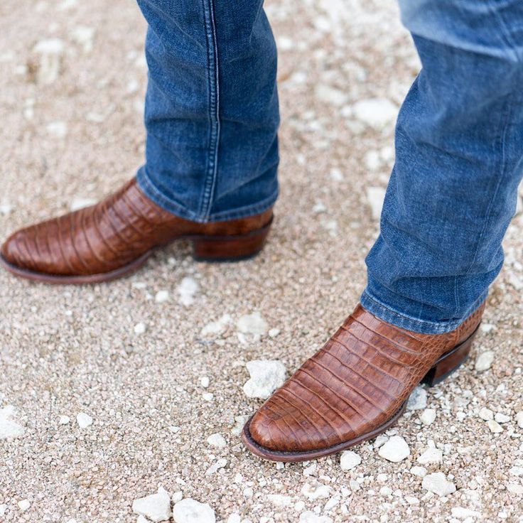 Tecovas Pecan Caiman belly cowboy boots. Burnt orange, perfect for fall and gameday outfits.