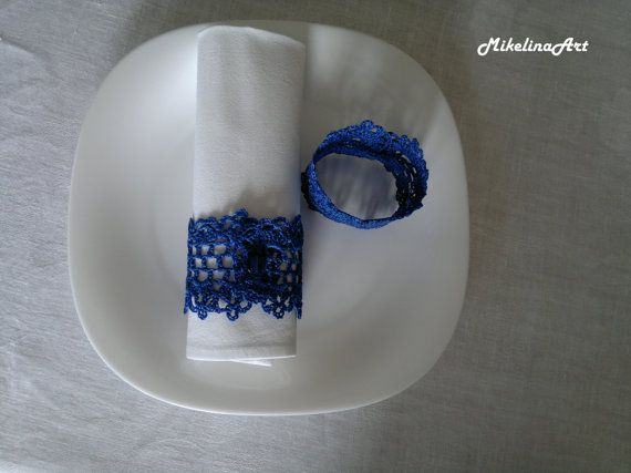 Crochet napkin rings.  Width: 5 cm (2 inches). Length: 19 cm (7.6 inches). 100% Cotton. Napkin rings were ironed and starched.  Feel free to ask me any questions.  All items were made by me in a smoke-free environment. Hand Wash, Line Dry.   Ready to ship in 2-3 business days.   The list of items will be growing so stay tuned. Thank You.