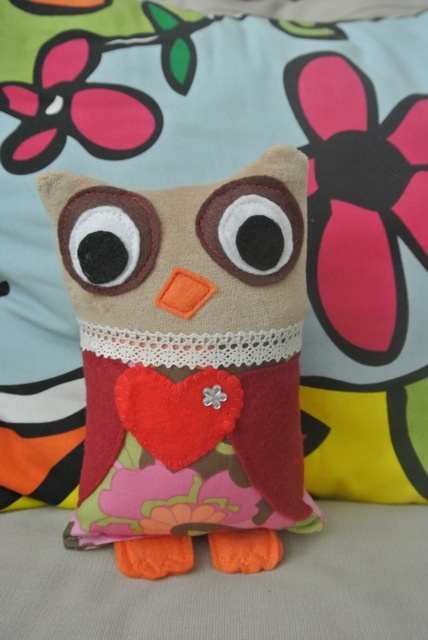 """PikuHibu Owlet Plushie"" - This 8"" tall owl is made of soft velour, felt and cotton fabrics and filled with soft polyester fiber filling. Eye colour can be specified (brown, orange, black, grey etc) and fabric patterns will be selected appropriately for recipient  : girl, boy or neutral."