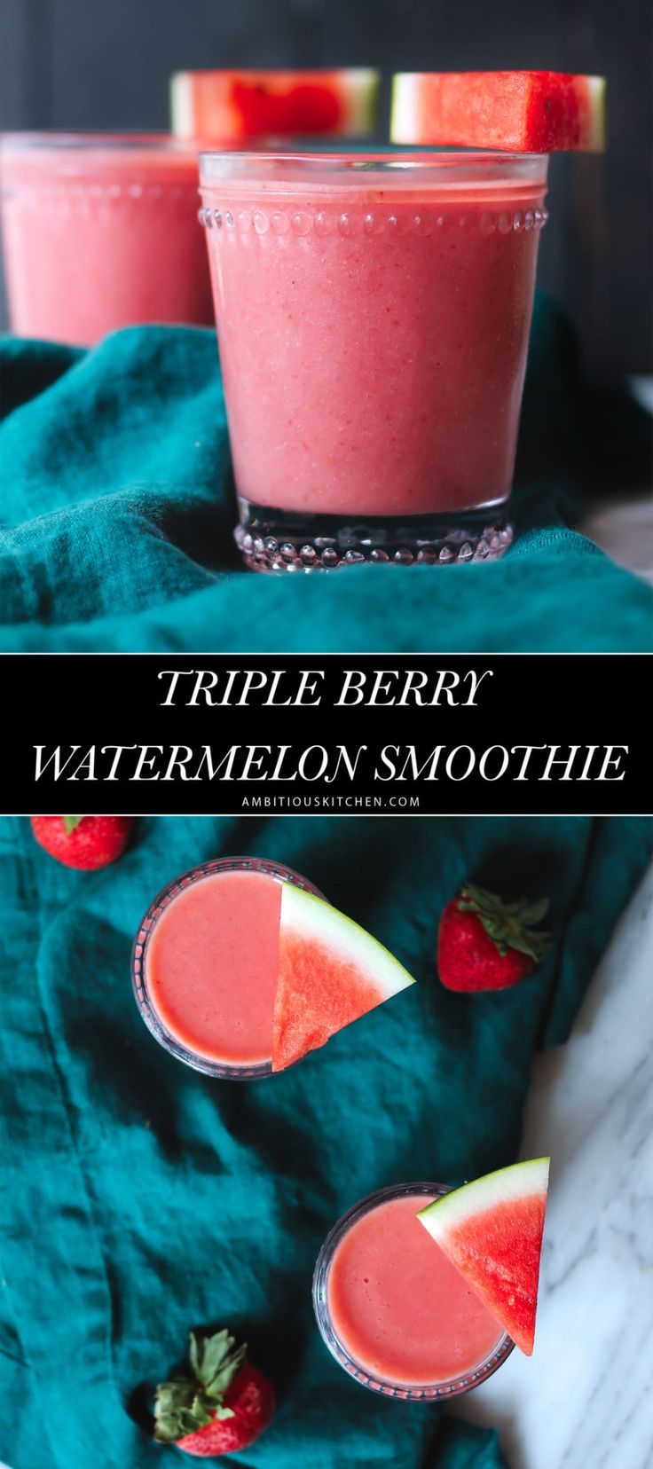 A creamy, refreshing triple berry watermelon smoothie -- use up that summer produce in this healthy smoothie recipe!