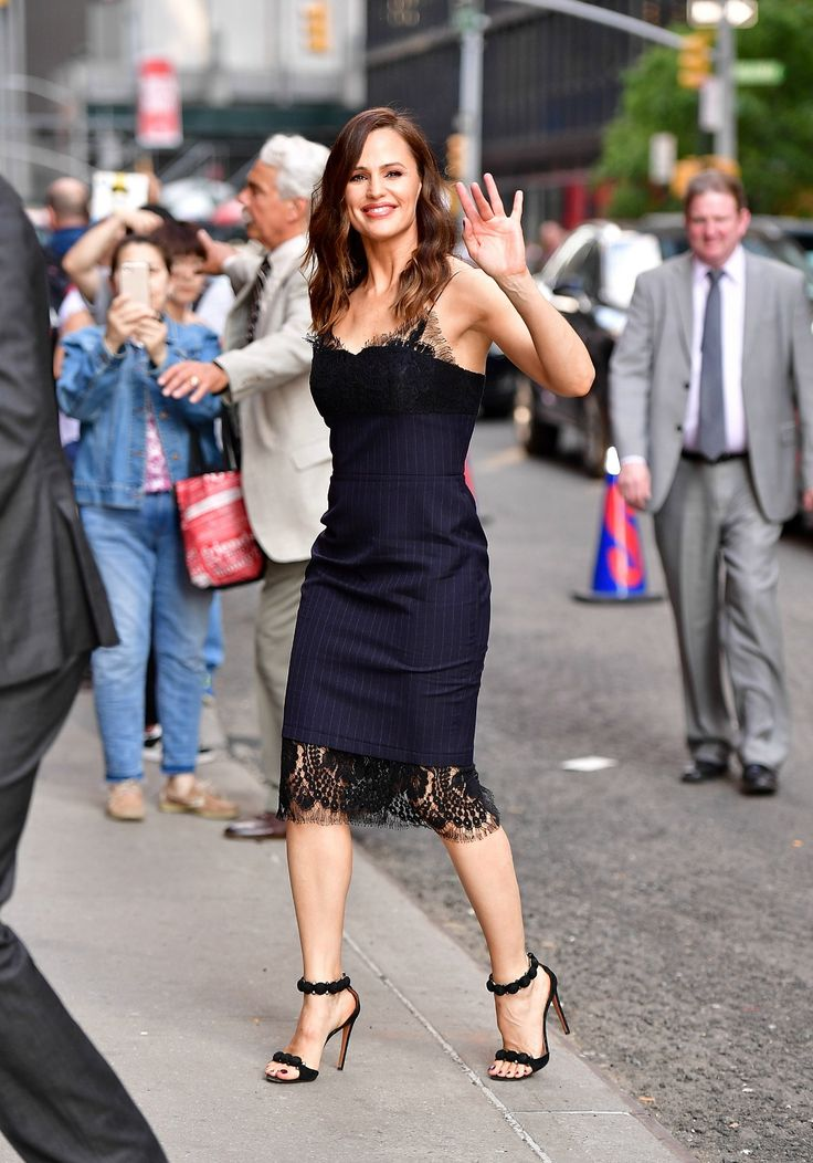 Jennifer Garner attending The Late Show with Stephen Colbert wearing the #VBPreSS17 Sheer Cami Fitted Dress. See the full Ready-to-Wear collection now in stores and online.