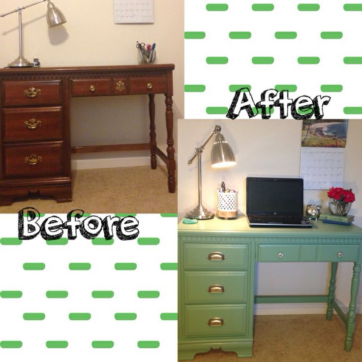 Old desk redo!  Sand down, paint 2 coats gripper primer, roll on desired color satin finish indoor house paint (2 coats 1 pint), seal with polyurethane satin finish 2-3 coats. Finish with new pretty hardware and decorate!!!