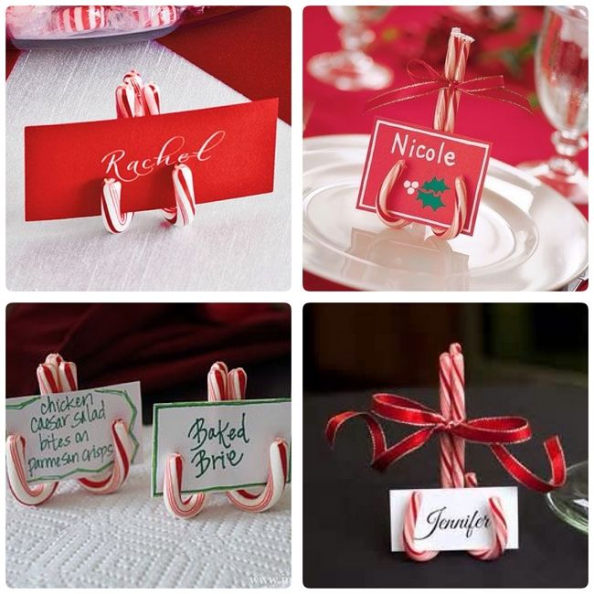 table card holders made of candy canes