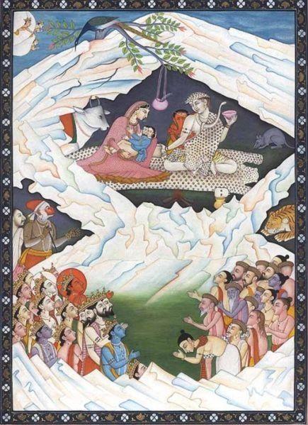インドから頂いたカイラス山の様子を描いたもの。 中央上右にいるのが、シヴァ神 その隣がシヴァの奥さんはカイラス山の娘。