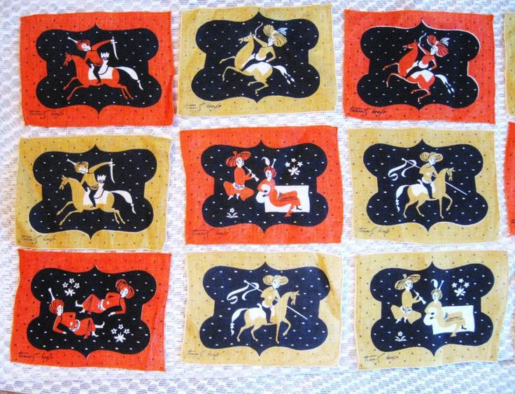 This is a set of 12 Tammis Keefe cocktail napkins in an Arabian Knights design.  Wonderful images on orange and yellow backgrounds.  All are in perfect condition with no rips or stains.  Each one is 7 1/2 x 5 1/2.  From a smoke free home.