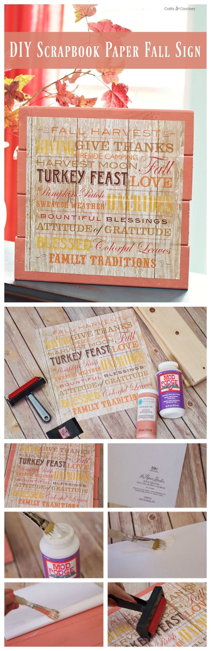 This pretty fall sign was made with a piece of scrapbook paper (under $1!), scrap wood, and Mod Podge. It's the perfect seasonal decor piece! via @modpodgerocks